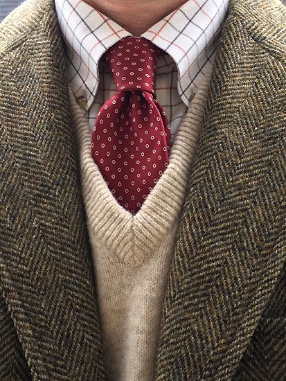 Vintage 3/2 half-Norfolk jacket by Glenwick for Crowley's of Detroit, L.L. Bean tattersall shirt and lambswool sweater vest (Scotland), Vintage Hardy Amies silk tie.(England)