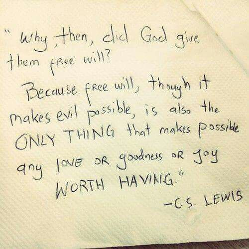 Why, then, did God give them free will? Because free will, though it makes evil possible, is also the only thing that makes possible any love or goodness or joy worth having. - C. S. Lewis