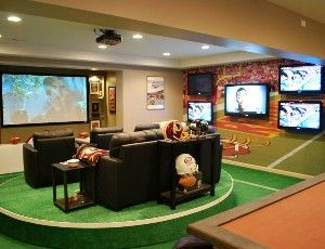 NFL and DIY Network created the ultimate (sports)man cave with 7 screens and TONS of gear.