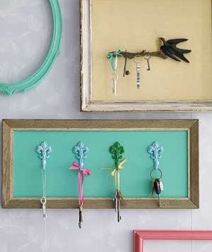 Framed hooks will keep keys organized―and looking decorative. Eliminate the glass and paint the backing or cover it with fabric or paper. Then attach the key hooks using an extra-strong glue.