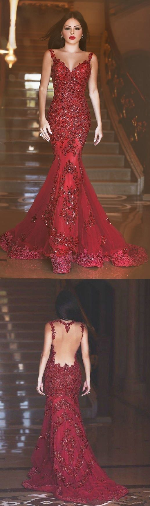 Burgundy Prom Dresses,Lace Prom Gown,mermaid Prom Gowns,Simple Evening