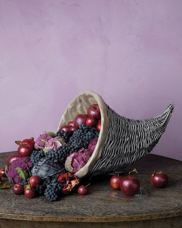 Shimmery Lined Cornucopia -     A basic cornucopia basket gets a glamorous makeover, thanks to sparkly paint and fabric. Fruits and vegetables in rich shades of ruby and amethyst spill out like jewels.