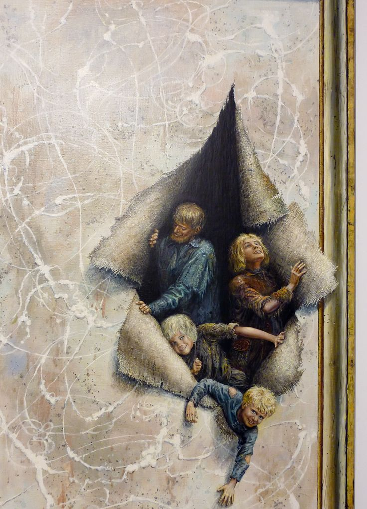 This drawing is showing people coming out of a painting which they could of been trapped in.