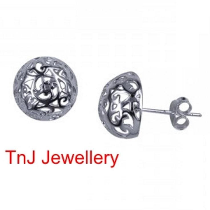 NEW Genuine Solid 925 Sterling Silver Filigree Dome Earring Studs 8, 10 & 12 mm