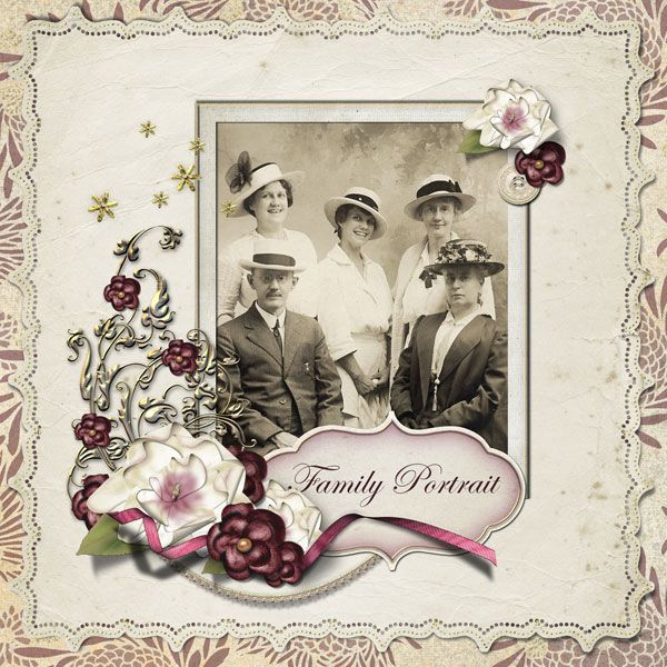 Memories In Time - Digital Scrapbooking - Family History. Just the perfect kit for this layout by Sandygb. Product: Edwardian Blossom by Lauren Bavin