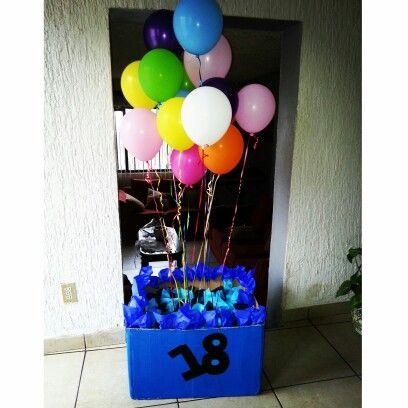 Caja sorpresa de cumpleaños con 18 cajas por dentro  y cada caja con un regalo. Boyfriend's gift