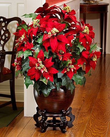11 best christmas silk floral arrangements poinsettia for Poinsettia arrangements