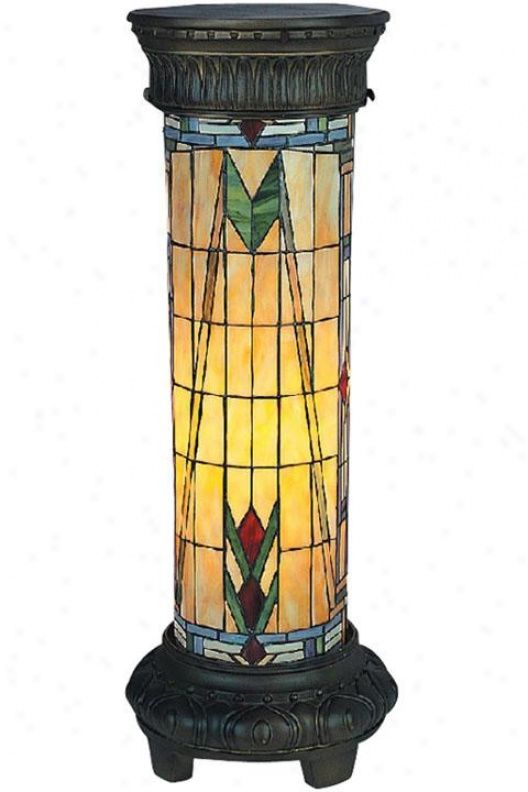 Mission stained glass floor pedestal lamp  Mission