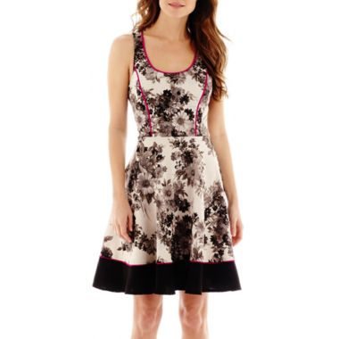 S.H.E Sleeveless Floral Print Fit-and-Flare Dress   found at @JCPenney