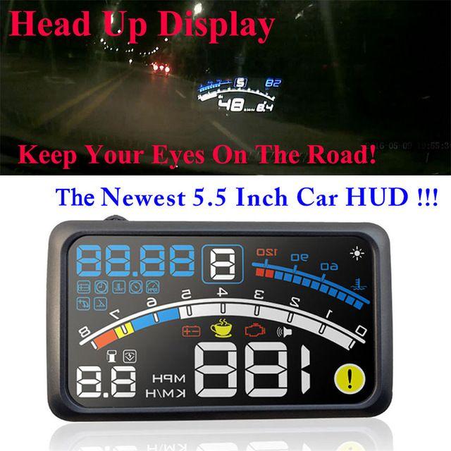"Cheapest Price $33.42, Buy 4E 5.5"" Head Up Display HUD OBDII EOBD Windshield Projector Self-adaptive Car Fuel Parameter Display Speeding Warning w/ bracket"