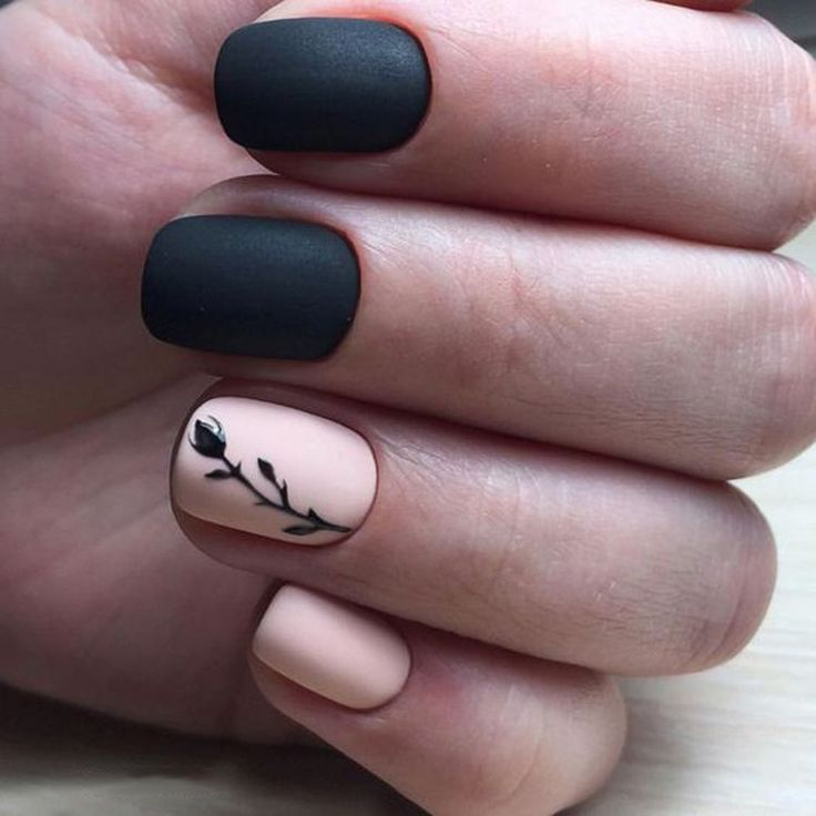Trendy matte Black Nails Designs Inspirations; Black Nails; Matte Nails;
