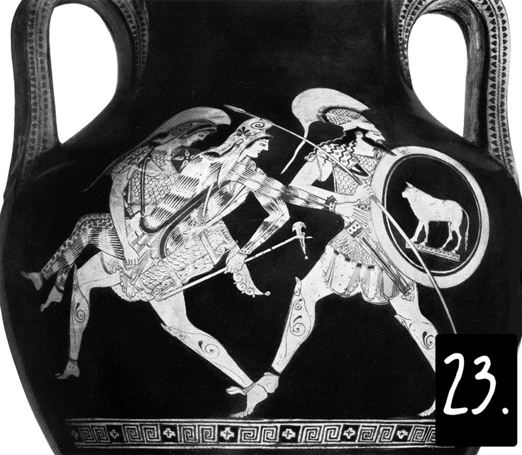 Un altro tema, che si afferma a seguito delle guerre con i Persiani, è il rapimento di Antiope. La regina amazzone è rappresentata del tipico abbigliamento persiano/orientale, con le maniche lunghe e i pantaloni attillati di stoffa multicolore. Teseo, in questo periodo, è spesso sbarbato, e Antiope diventerà sua moglie: è il personaggio a sinistra. A destra, forse con lo scudo di Teseo, l'amico Piritoo. I nomi sono scritti.