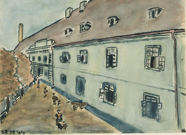 Petr Ginz, born in Prague in 1928, spent his adolescence in the children's home in the Theresienstadt ghetto [depicted in painting]. He edited the youth newspaper Vedem (We are the Leaders). He died in Auschwitz in the fall of 1944.
