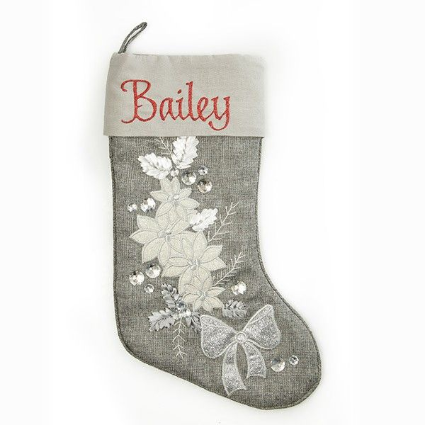 Personalised Silver Poinsettia Stocking