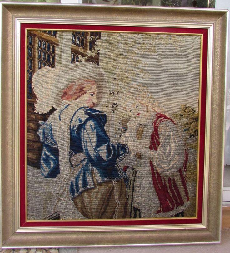 Antique 19th Century Needlepoint Beaded Tapestry Woolwork  Victorian Love Scene #NeedleworkTapestry