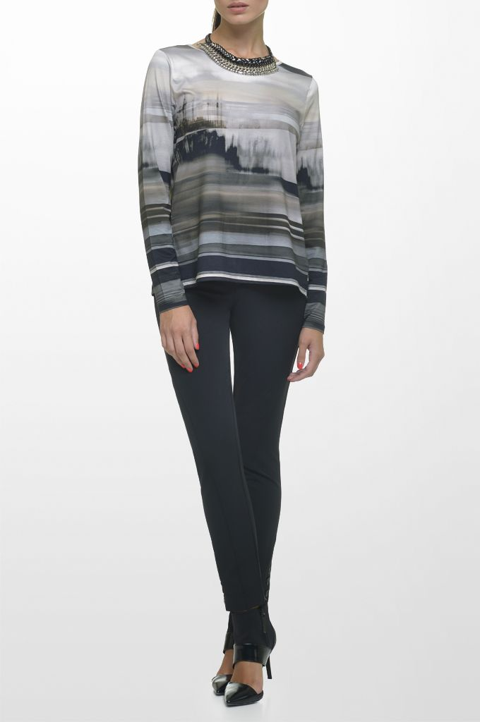 Sarah Lawrence - jersey striped blouse with black details, skinny pant, necklace.