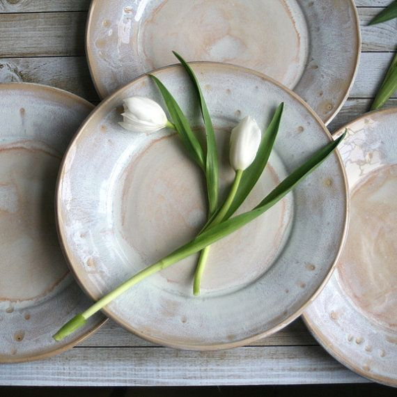 RESERVED for Amie and Brian's Wedding Registry - Rustic White Dinner Plates Set of Four Handmade Ceramic Dishes Stoneware Dinnerware