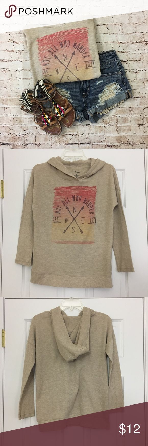 Not all who wander are lost thermal hoodie Super cute and comfortable tan thermal hooded sweatshirt. EUC. Size small. Not too snug. Sonoma from Kohl's. Sonoma Tops Sweatshirts & Hoodies