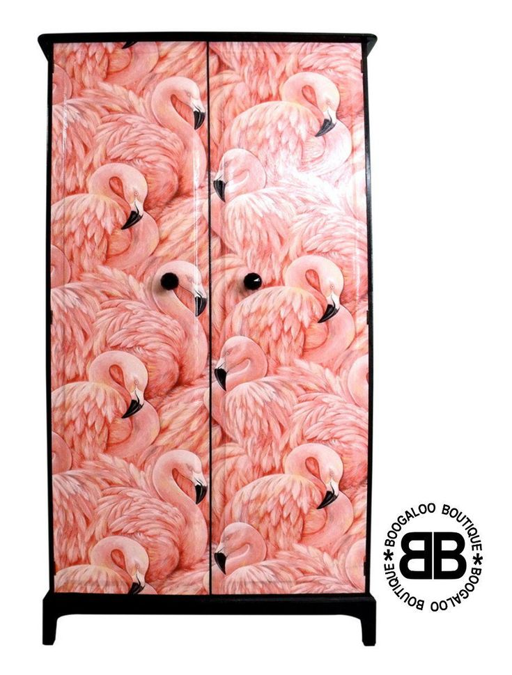 Stunning Upcycled Stag Wardrobe with Fabulous Flamingos Decoupage in Home, Furniture & DIY, Furniture, Wardrobes   eBay