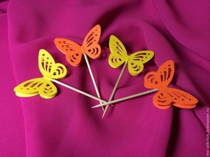 "Флажки для канапе ""Бабочки"" - оранжевый,канапе,канапе на свадьбу,канапе на день рождения"