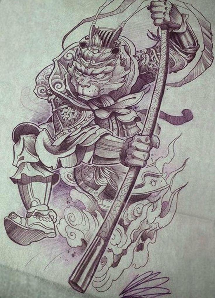 Monkey King Tattoo Design. ไอเดียรอยสัก, การออกแบบรอยสัก