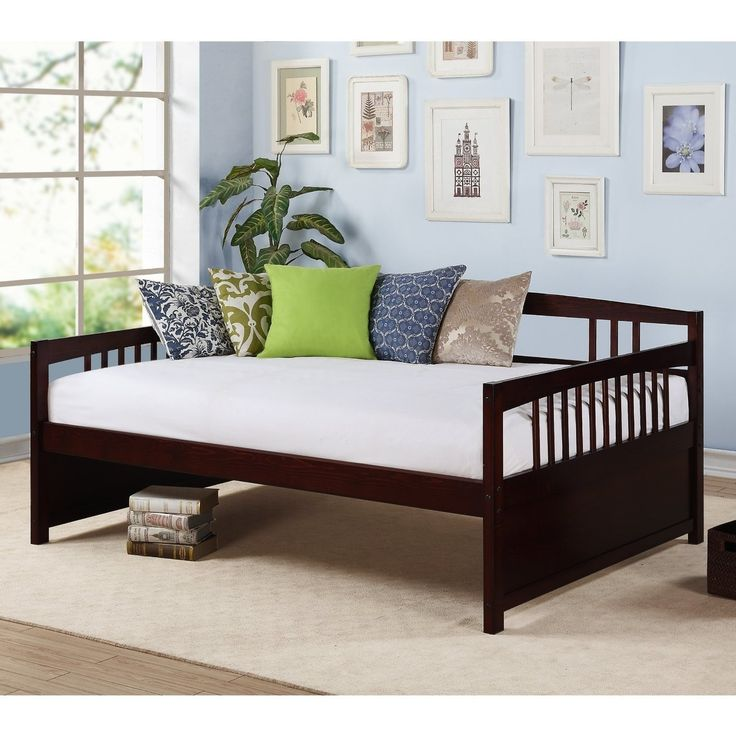 Full size Contemporary Daybed in Espresso Wood Finish-Bedroom > Bed Frames > Daybeds-Loluxe
