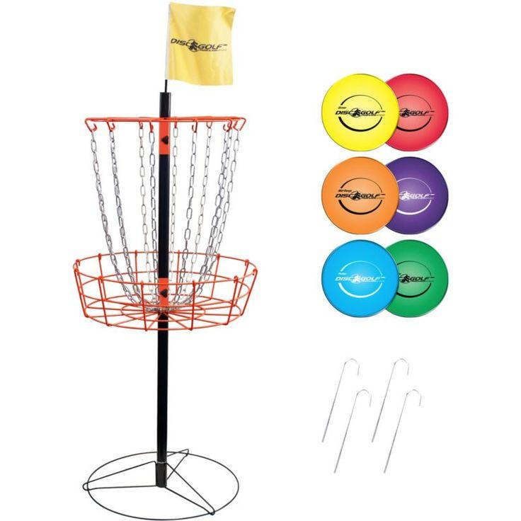 Park & Sun Sports Portable Disc Golf Basket and Disc Set, Grey