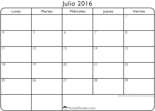 Calendario 2016 Julio Para Imprimir