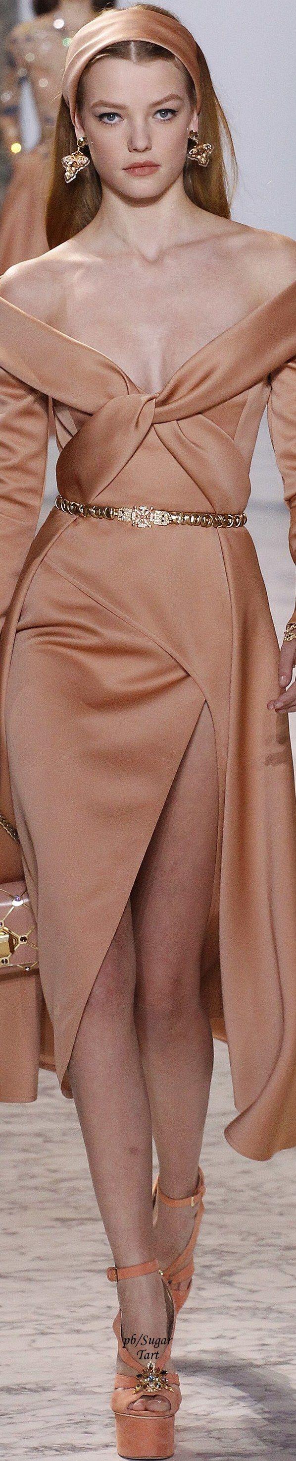 Elie Saab Spring 2017 Couture, off shoulder, twist, drape, tulip, evening, dress, gown, satin, silk, belt, nude, long sleeve