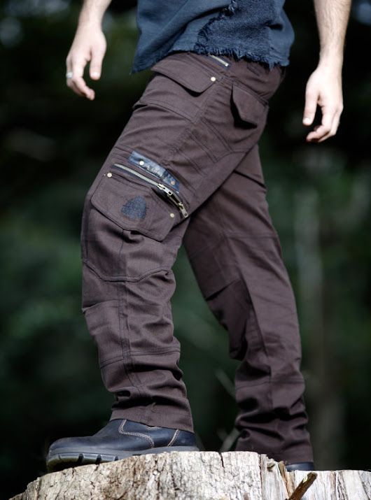 Dark Brown Long Kru Cargo Goa Functional Pants, Trousers Many Pockets and zips Rave Gypsy Festival Tribal Heavy Duty Mens Clothing AJJAYA