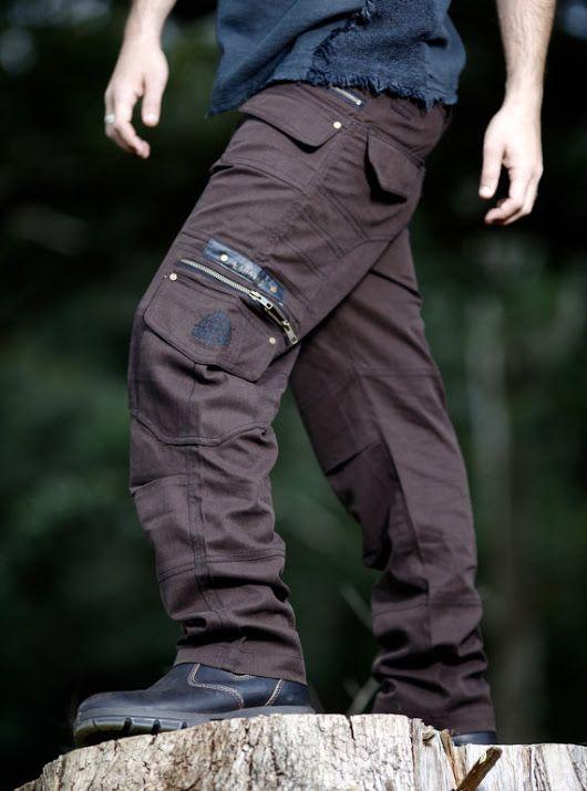 Dark Brown Long Kru Cargo Goa Functional Pants, Trousers Many Pockets and zips Rave Gypsy Festival Tribal Heavy Duty Mens Clothing AJJAYA