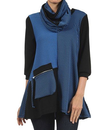 Look what I found on #zulily! Black & Royal Tunic & Infinity Scarf #zulilyfinds