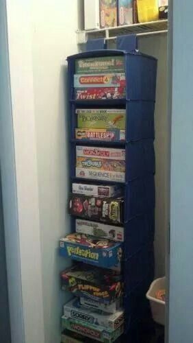 Store games in a hanging shoe organiser