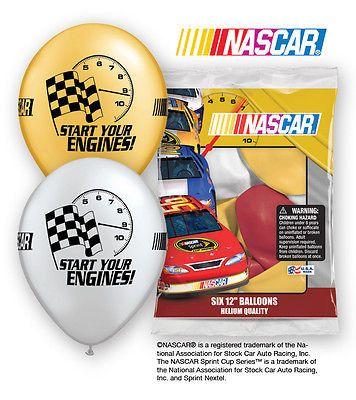 "6 pc 12"" Nascar Racing Flags Party Latex Balloons Happy Birthday Stock Car Auto"