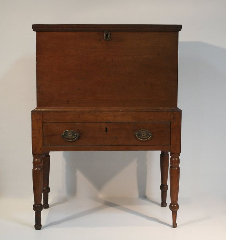 "CHERRY MIDDLE TENNESSEE SUGAR CHEST  ca. 1815-25. Tulip Poplar secondary wood. Height: 39 1/8"" Width 28 1/2""   Depth: 17 1/2"" Leg 15"". Provenance: The Estate of Mac and Margaret Robinson, Nashville, TN.  Michael Hall Antiques #furniture #antiquefurniture #southernfurniture #southernantiques #southernantiquefurniture #americanfurniture #americnaantiques"