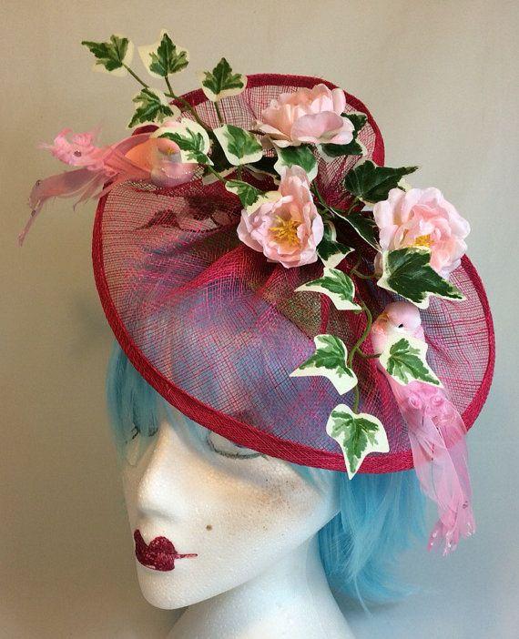Lovebirds....Pink Roses & Birds Fascinator by tenandsixcraft #Dorsetteam