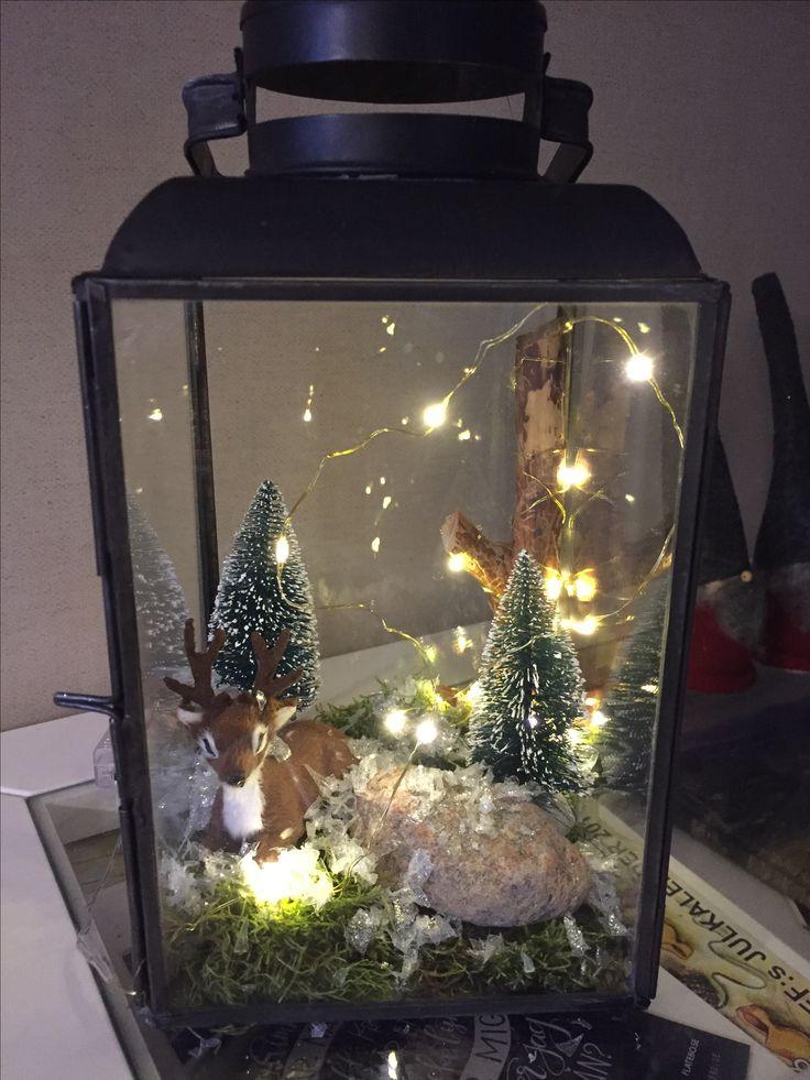 Winter decoration in a lantern