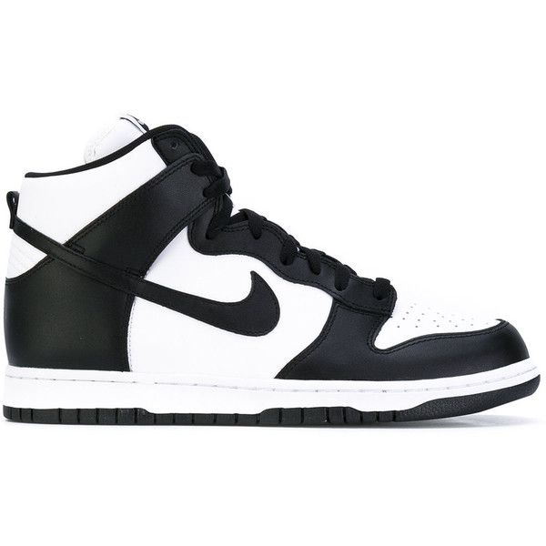 Nike 'Dunk' retro hi-top sneakers ($180) ❤ liked on Polyvore featuring men's fashion, men's shoes, men's sneakers, black, mens retro sneakers, mens wide width sneakers, mens black sneakers, mens leather shoes and mens wide sneakers