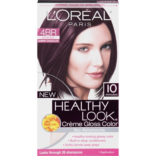 L'Oreal Paris Healthy Look Creme Gloss Hair Color, 4BR Dark Red Brown Cherry Chocolate
