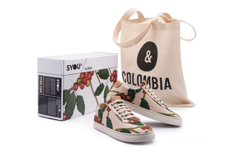 The SYOU CO.10 CREAM COFFEE sneaker illustrated by Santiago Oliveros features coffee cherries which grow in clusters along the stems of the coffee plant. 100% made and sourced in Colombia, with minimal branding. Get yours at SYOU.com