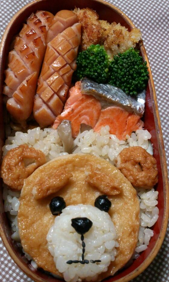 Teddy Bear Kyaraben, Japanese Bento Lunch (Aburaage Deep-fried Tofu Sheet Face, Surimi Ball Ears, Black Beans and Black Sesame Seeds Parts)|キャラ弁