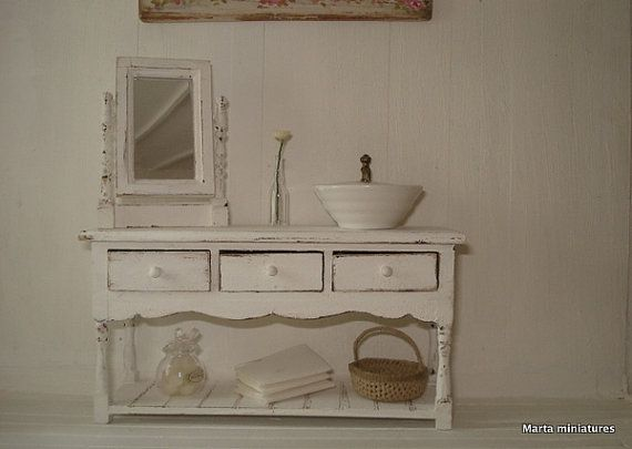 bathroom furniture and mirror  for dollhouses by Martaminiatures, €39.00