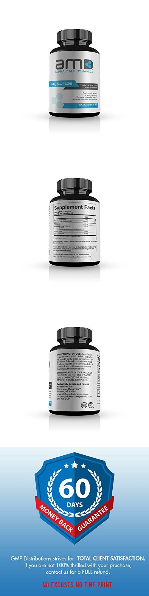 Alpha Male Dynamics NO2 Boost- Stimulant Free Pre Workout- Build Lean Muscle Mass- Reduce Body Fat- Boost Energy Levels 60 caps