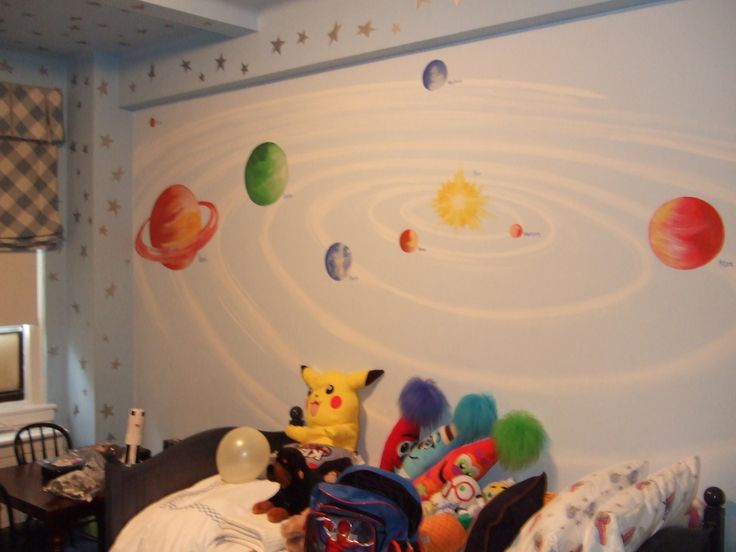 46 best murals space images on pinterest outer space for Outer space bedroom design