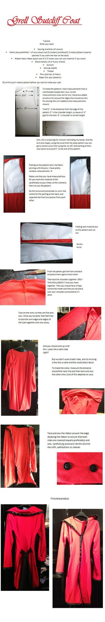 Grell Sutcliff Coat tutorial by kayles-jabberwock on Deviantart.  This will be helpful in case I can't find a jacket to modify.