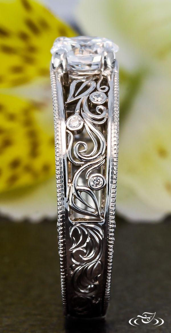 Organic Filigree Engagement Ring. Green Lake Jewelry.