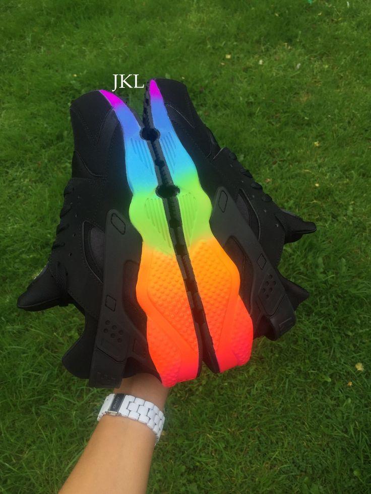 Image Of Nike Huarache Black With Rainbow Sole Huaraches
