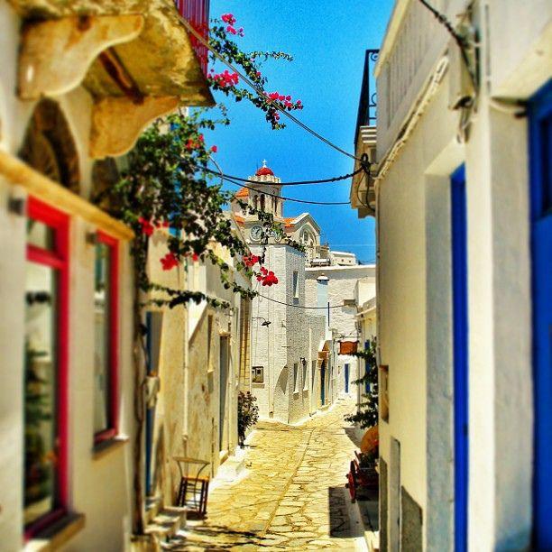 VISIT GREECE  Picturesque path in Pyrgos village   Tinos Island, Greece