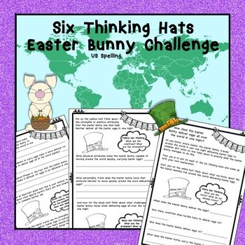 The Easter Bunny is amazing and travels the world in one night delivering Easter Eggs. Your job is to use Debono's Six Thinking Hats and be creative in explaining how the Easter Bunny manages this task!For grades 2 - 6.This pack includes:4 blackline masters that are needed to undertake the investigation.An answer sheet.This product is in US spelling and is letter paper size.
