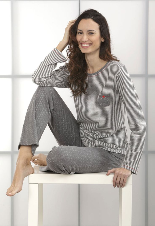 Pijama Massana invierno mujer gris.